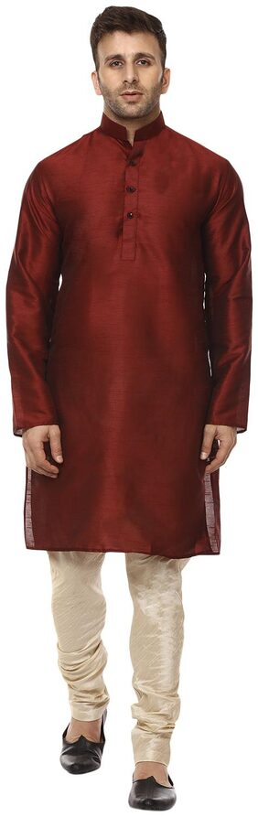 Veera Paridhaan Men Regular Fit Silk Full Sleeves Solid Kurta Pyjama - Maroon