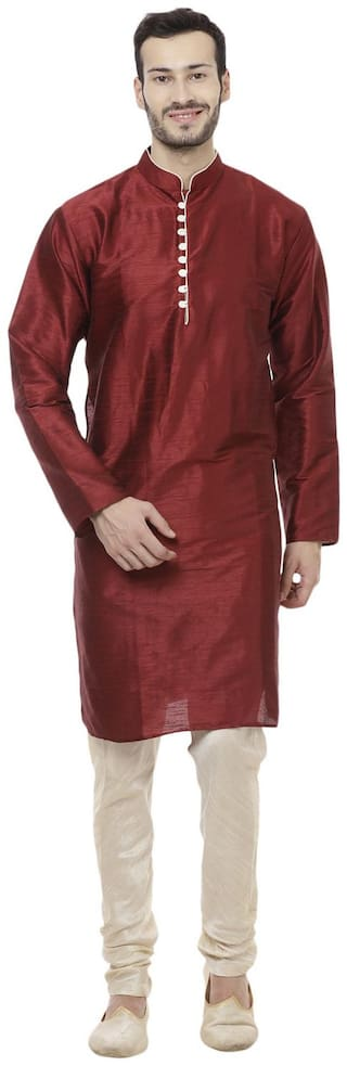 Veera Paridhaan Maroon & Beige Men's Solid Long Kurta Payjama set