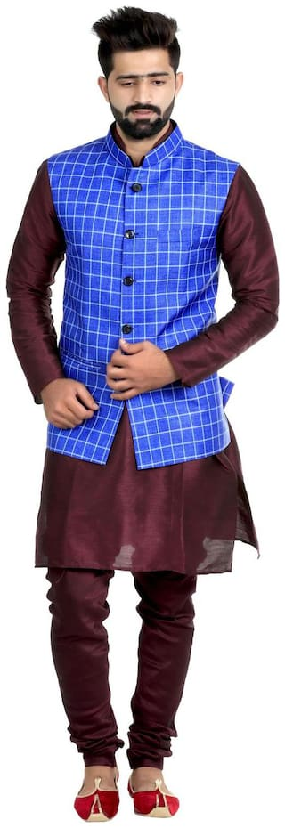 Veera Paridhaan Men's Checks Poly Cotton Jute Nehru Jacket