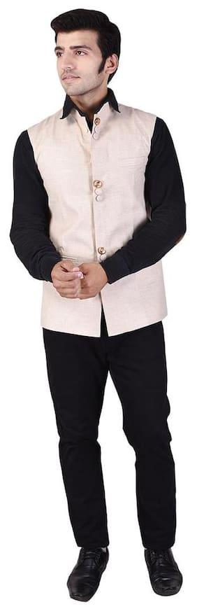 Veera Paridhaan Men's Solid Beige Cotton linen Nehru Jacket