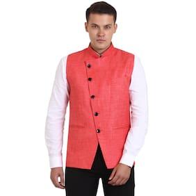 Veera Paridhaan Men Regular Fit Cotton Sleeveless Geometric Ethnic Jackets - Pink