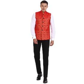 Veera Paridhaan Men Regular Fit Cotton Sleeveless Geometric Ethnic Jackets - Red