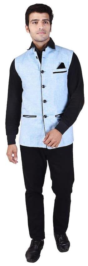 Veera Paridhaan Men's Solid Sky Blue Cotton Poly Nehru Jacket