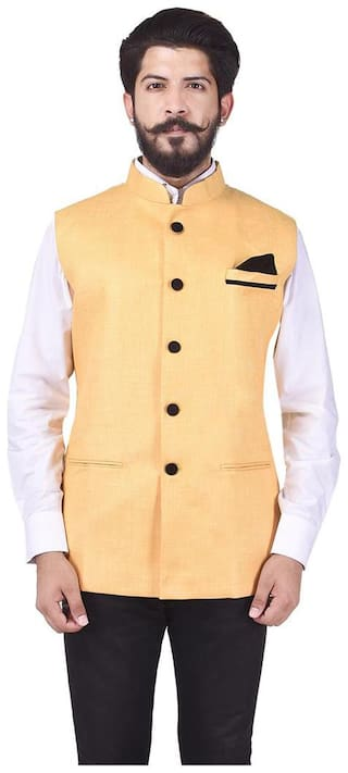 Veera Paridhaan Men Yellow Solid Regular Fit Ethnic Jacket