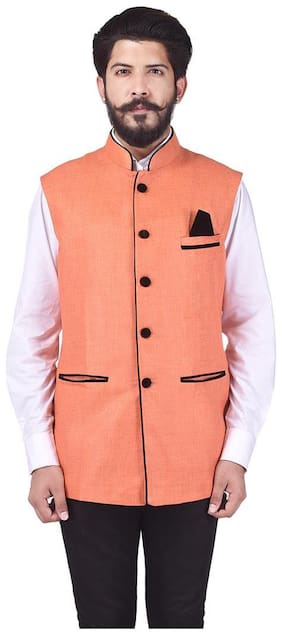 Men Solid Cotton Ethnic Jacket Pack Of 1