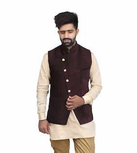 Veera Paridhaan Men Regular Fit Velvet Sleeveless Solid Ethnic Jackets - Maroon