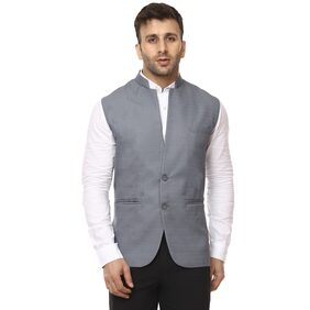 Veera Paridhaan Men Cotton Regular Fit Waistcoat - Grey