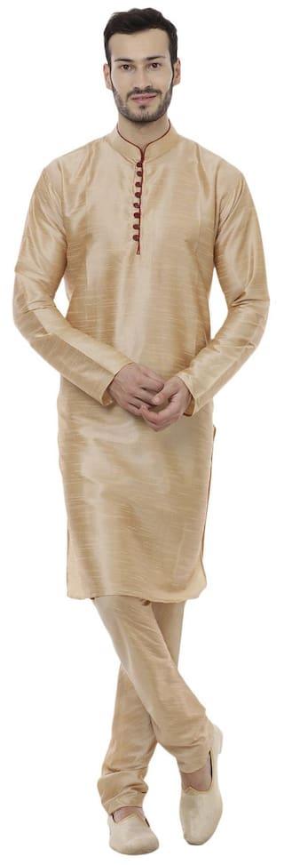 Veera Paridhaan Men Regular Fit Silk Full Sleeves Solid Kurta Pyjama - Beige