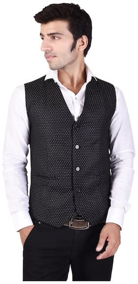 Veera Paridhaan Men's Printed Black Cotton Poly Waist Coat