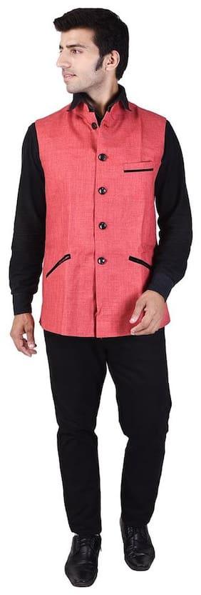 Veera Paridhaan Men's Solid Pink Jute Nehru Jacket