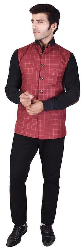 Veera Paridhaan Men's Printed Red Cotton Poly Nehru Jacket