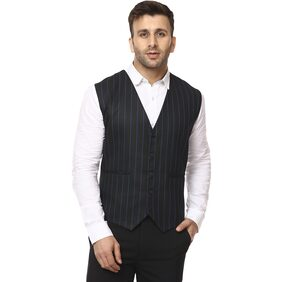 Veera Paridhaan Men Cotton Regular Fit Waistcoat - Black