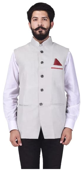 Veera Paridhaan Men's Party Wear Cotton Poly light grey Solid Pattern Jacket