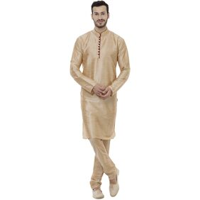 Veera Paridhaan Men Regular Fit Dupion Full Sleeves Solid Kurta Pyjama - Gold