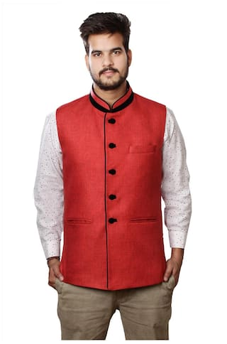 veera's Man's Red Nehru Jackets