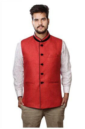 veera's Man's Red Nehru Jackets