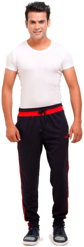 VEGO Men Cotton Track Pants - Black