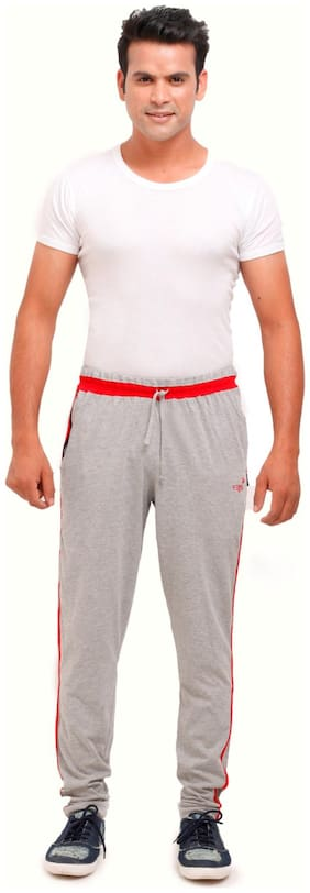 VEGO Men Cotton blend Track Pants - Grey