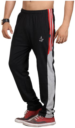 Vego Black Cotton Track Pant