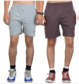 VEGO Men Grey Slim Fit Regular Shorts