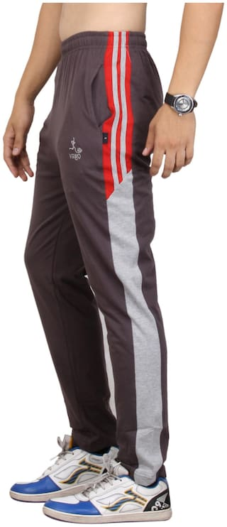 Vego Brown Cotton Track Pant