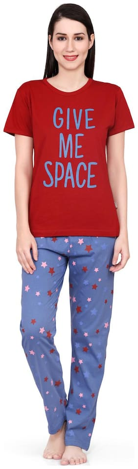 Velvet by night Cotton Night gown Printed Nightwear Red - (Pack of 1 )