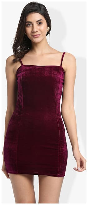Trend Arrest Maroon Solid Bodycon dress