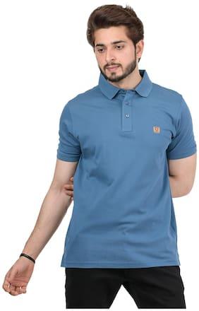 VENITIAN Men Cotton Blend Solid Tshirt  Blue
