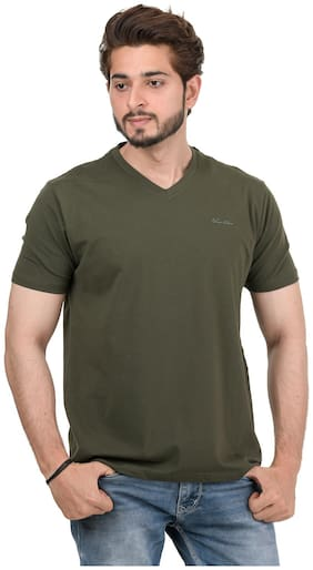 VENITIAN Men Green Slim fit Cotton Blend V neck T-Shirt - Pack Of 1