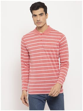 VENITIAN Men Cotton Blend Striped Pink  T Shirt