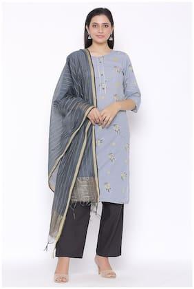 Veradiva Women Grey Floral Straight Kurta With Pants And Dupatta