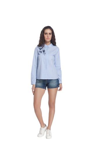 Sleeves Vero Casual Striped Blue Collar Long Shirt Moda rqwRwWtX