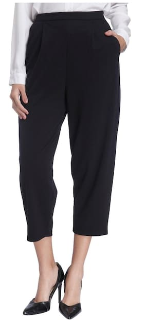 Vero Moda Black Solid Tapered Pants