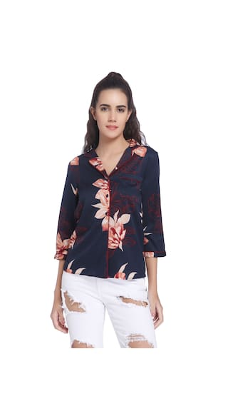 Vero Moda Blue Printed Casual Shirt