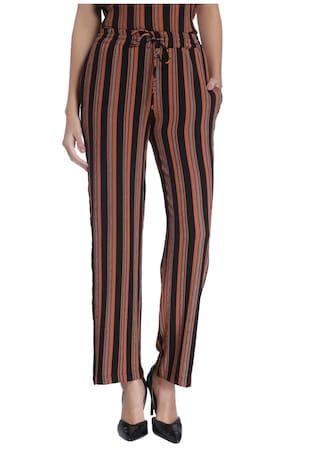 Vero Moda Dark Brown Striped Casual Trouser