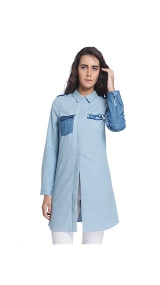 Vero Moda Light Blue Casual Collar Long Sleeves Solid Long Shirt