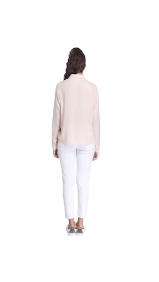 Collar Moda Casual Long Shirt Peach Vero Light Solid Sleeves vwq0nxP