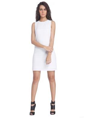 Vero Moda White Solid Casual Sleeveless Round Neck Dress