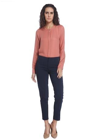 Moda Solid Trouser Women Casual Blue Vero dfqtxFOF