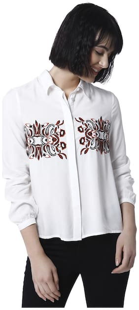 Vero Moda Women Slim fit Embroidered Shirt - White