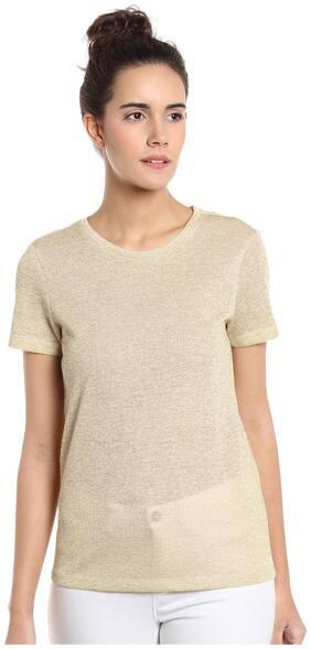 Vero Moda Women Geometric Round neck T shirt - Yellow