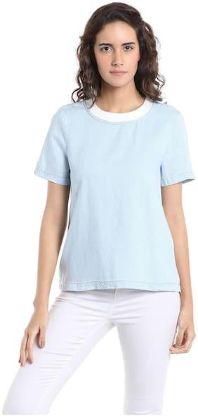 Vero Moda Women Solid Round neck T shirt - Blue