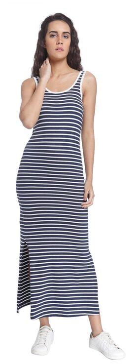 Vero Moda Women Navy Striped Casual Round Neck Maxi/full Length Dress