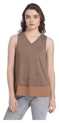 Vero Moda Women Geometric V neck T shirt - Brown