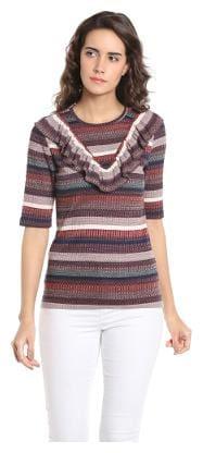 Vero Moda Women Geometric Round neck T shirt - Brown