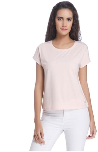 Vero Moda Women Solid Round neck T shirt - Pink
