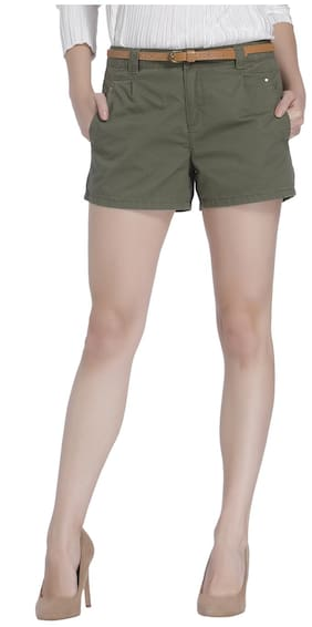 Vero Moda Women Solid Shorts - Green