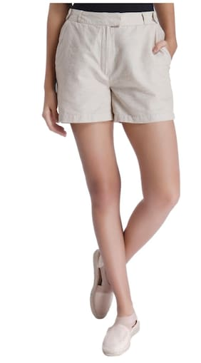Vero Moda Women Solid Shorts - Beige