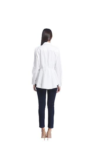 Solid Sleeve White Shirt Full Neck Moda Collar Vero Women xSqzzU