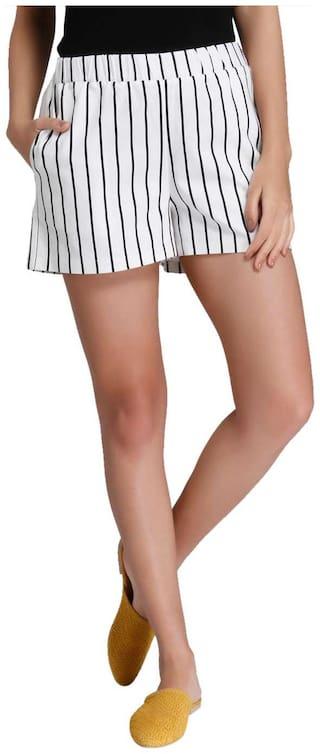 Vero Moda Women Striped Regular capri - White